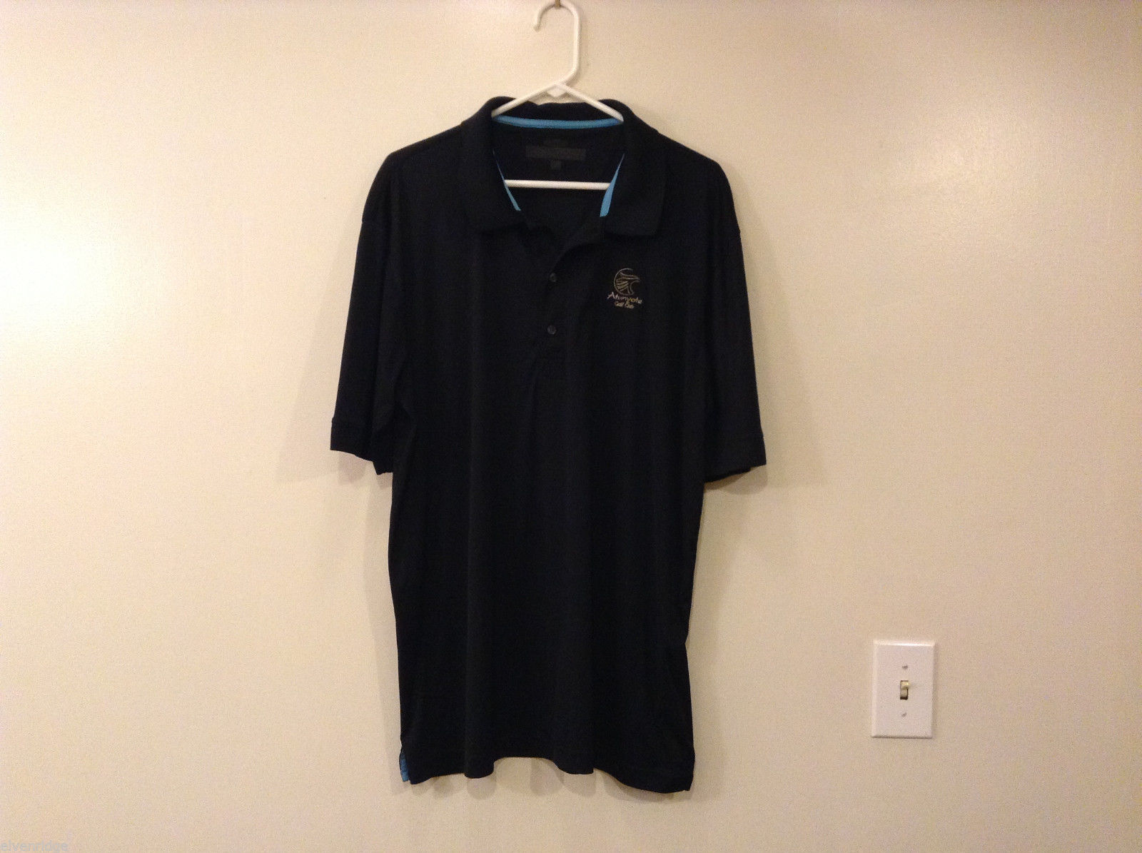 Mens Greg Norman Black Golf Polo style Microfiber Polyester T-shirt, size XL