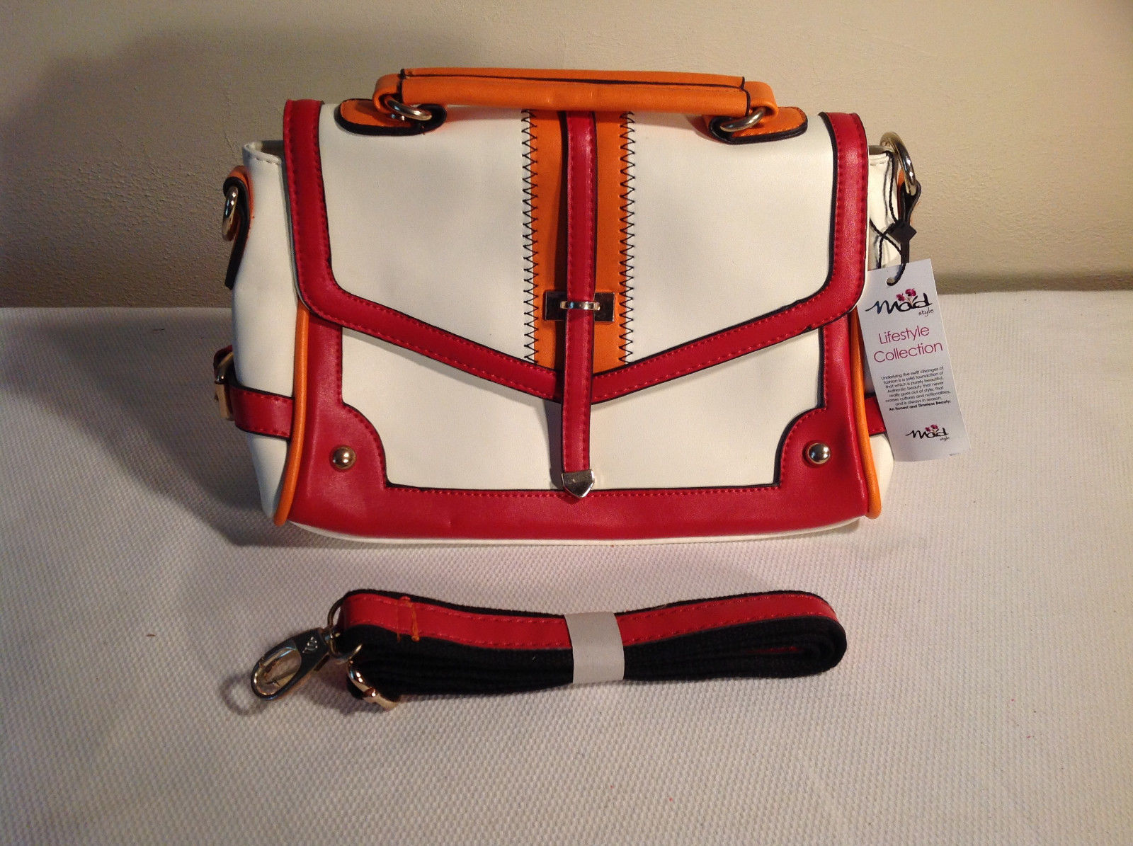 Mad Style Colorful White Red Orange Handbag + Shoulder Strap Faux Leather