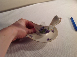 NIB Porcelain Night Light Teacup Saucer Violet FLower Gold Trim Rotatable - $24.74