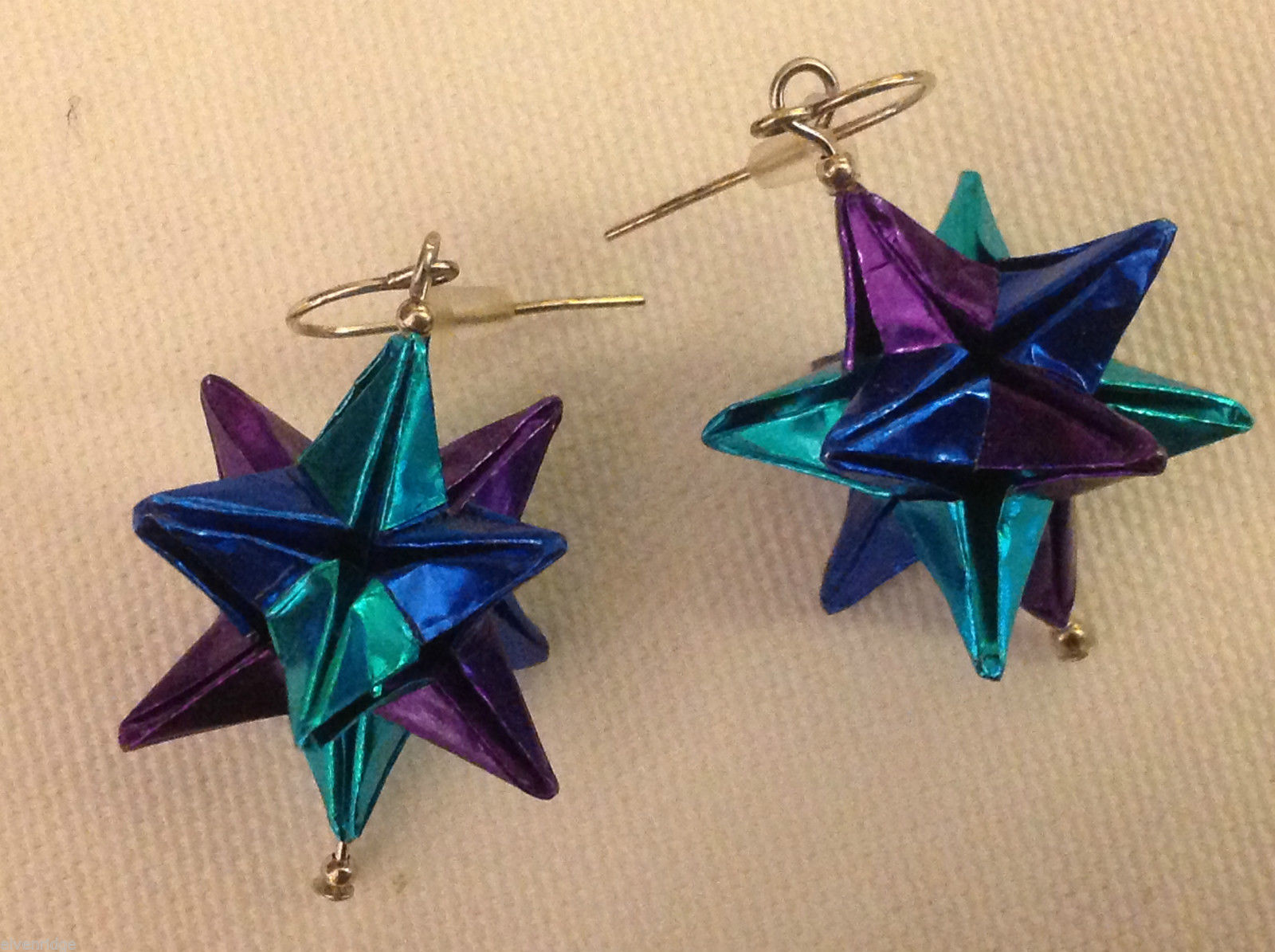 New w tags origami blue and purple shiny omega star  earrings silver wires