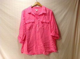 Old Navy Women Size XL Blouse Pullover Pocket Shirt Fuchsia Pink Roll Tab Sleeve