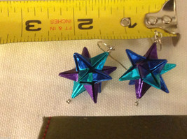 New w tags origami blue and purple shiny omega star  earrings silver wires image 3