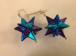 New w tags origami blue and purple shiny omega star  earrings silver wires image 2