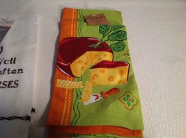 Lot of 2 NEW Kitchen Towels White Green w/ Orange Cotton Cheese Horses image 4