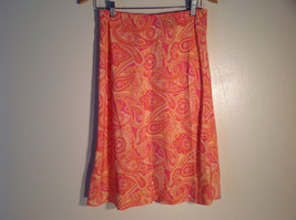 Womens NY and Co. Silk Skirt Orange Pink FLoral Size M Excellent