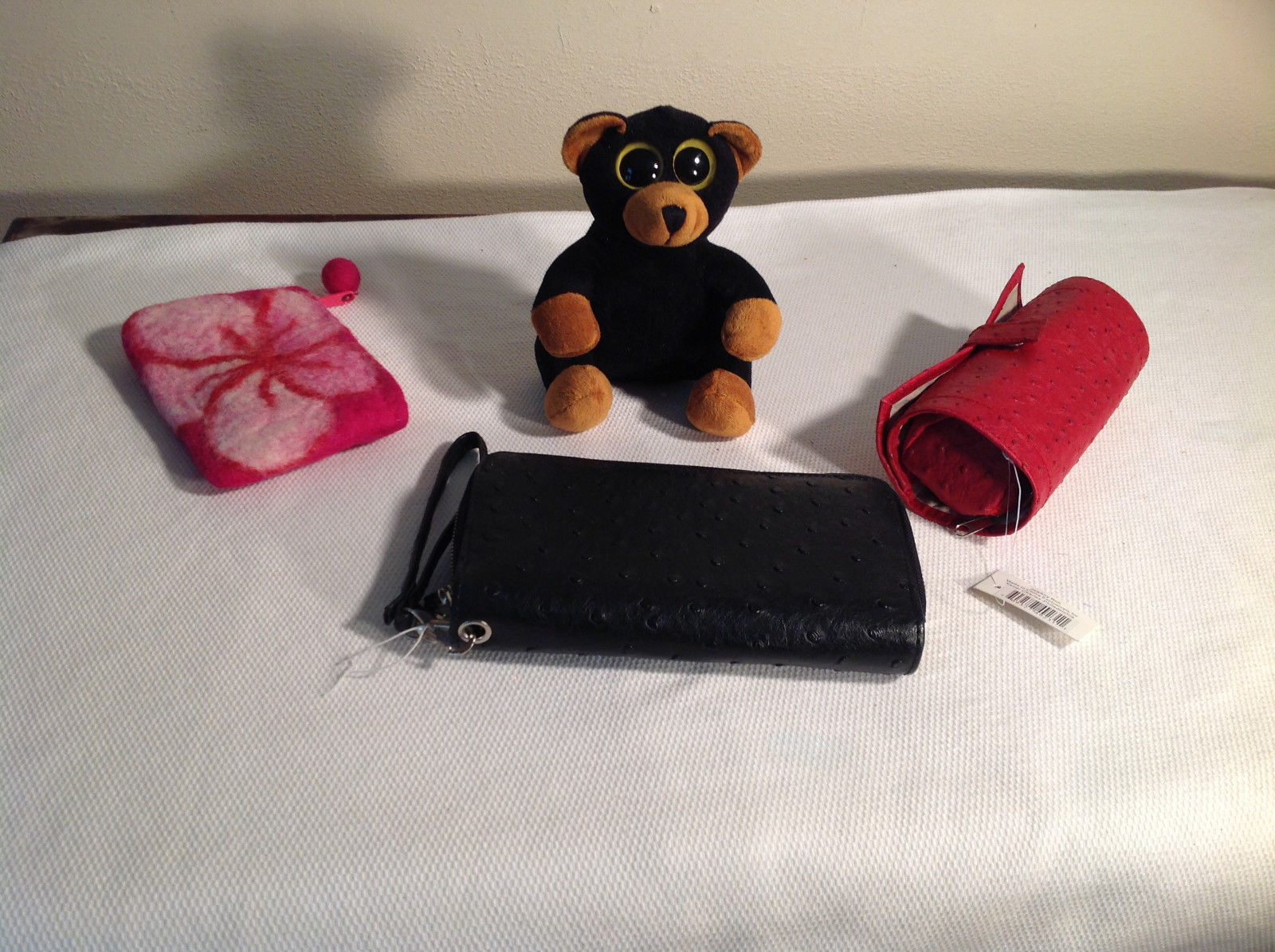 Womens accessories lot + teddy bear, 2 clutch purses, 1 jewel roll, black teddy