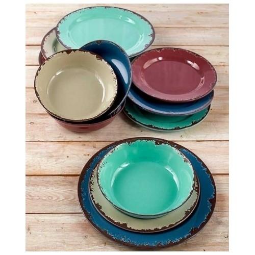 Colorful rustic melamine 12 pc dinnerware set