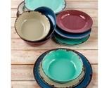 Colorful rustic melamine 12 pc dinnerware set thumb155 crop