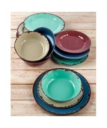 Colorful Rustic Melamine Dinnerware Set or Bowls Party Picnic Outdoor Di... - $16.88+