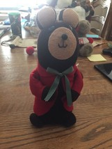 Vintage Christmas Sock Mouse  Crafty Lady  Red Felt Coat  Green Satin Bo... - $6.92