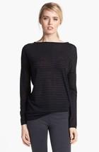 VINCE | Stripe Boatneck Sweater sz L women's GUC $185 heather carbon V14... - $1.667,13 MXN