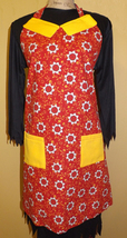 Adult Full size Red/Yellow Flower Apron IN STOCK - $30.00
