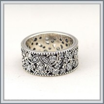 Wedding Band of Encrusted CZ Shimmering Leaves Antique Finished 925 Silver Ring