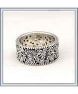 Wedding Band of Encrusted CZ Shimmering Leaves Antique Finished 925 Sil... - $92.95