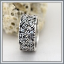 Wedding Band of Encrusted CZ Shimmering Leaves Antique Finished 925 Silver Ring image 2