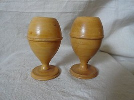 Vintage Pair Solid Wood EGG CUPS turned lite co... - $7.69