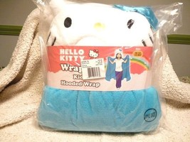 Hello Kitty Wrappie Kids Hooded Wrap Blue/White Towel, Collectible - $26.76