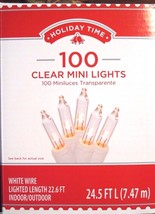 Holiday Time 100 Clear Mini Lights, White Wire Lighted Length 22.6 ft - $7.81