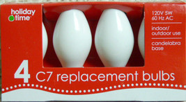 4 Holiday Time C7 Replacement Bulbs Xmas Party Wedding Lights Ceramic White - $5.01