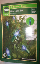 100 Blue Mini Lights Wedding Xmas 21.5 ft Green Wire - $7.01