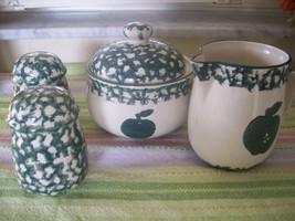 Tienshan Folk Craft Apple salt and pepper shakers sugar bowl and creamer... - $9.40
