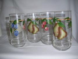 4  riekes crisa glass tumbler  pears cherry plums fruit pattern excellen... - $16.69