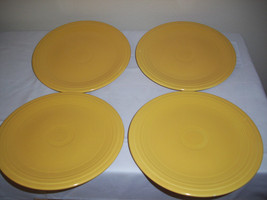 "4 Vintage FIESTA YELLOW 9.5"" DINNER LUNCH PLATES FIESTA HLC USA lower f ... - $26.66"