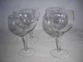 "4 Hand Blown Chardonnay Wine Glasses  Excellent 6 1/4"" H - $18.12"