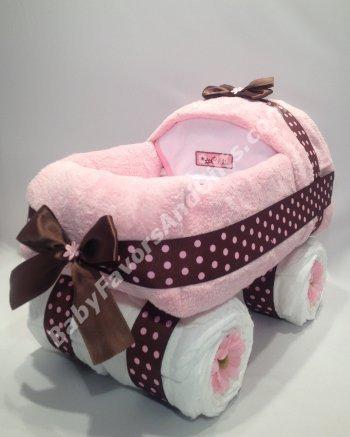 Diaper cakes babycarriagepinkandbrown3