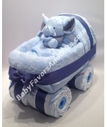 Baby Carriage Diaper Cake with Toy - see more colors - $113.00