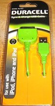 Duracell Du1631 Sync & Charge Usb Cable Green for Pod, Iphone and Ipad - $4.94