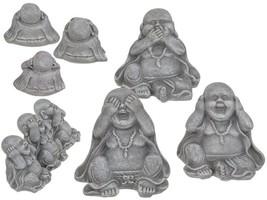 3 WISE HAPPY BUDDHA ORNAMENTS DECOR,HEAR NO, SEE NO, SPEAK NO EVIL - $28.01