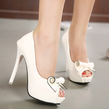 PS226 Elegant high-heeled sandals w bows, pu leather ,size 34-39, white - $58.80