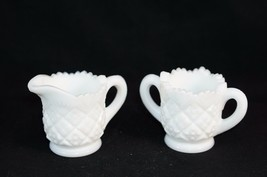 Westmoreland Thumbelina Pattern White Milk Glass Cream & Open Sugar Set Vintage - $16.44