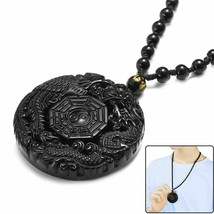 Lucky Pendant Necklace Natural Obsidian Carved Chinese Dragon Phoenix Bagua image 2