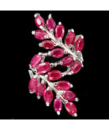 Genuine Oval Red Ruby Leaf Knuckle Sterling Silver Ring/925-Gorgeous - $129.00