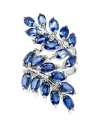 Genuine Oval Blue Sapphire Leaf Knuckle Sterling Silver Ring/925-Gorgeous - $129.00