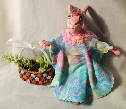 Pink Bunny DOLL OOAK Folk Art Handmade fabric polymer rabbit Happy Easte... - $37.62