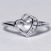 Diamond Open Heart Shape Promise Band Ring Womens 10K White Gold Channel... - $269.00