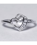Diamond Open Heart Shape Promise Band Ring Womens 10K White Gold Channel... - $269.00