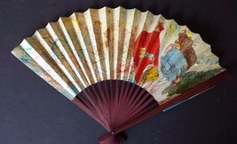 Vintage Wood and Paper Chinese Fan with Calendar Dark Wood - $21.03