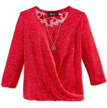 Bcx Girls' Metallic Twist Top with Necklace, Red, Size M,MSRP $38 - $16.82