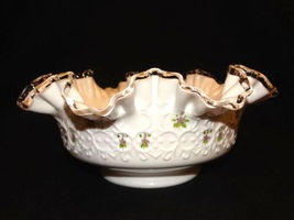 Fenton Spanish Lace Violets in the Snow Console Bowl - $40.00