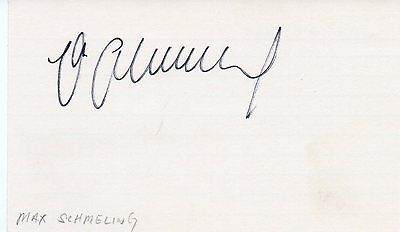 MAX SCHMELING Autograph on index card