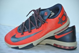 Nike KD Kevin Durant Boys Sz 6.5 Youth Neon Red Navy Blue Sneakers 59947... - $29.69