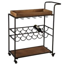 Industrial Wood/Iron Wine Cart  on Wheels Pub Bistro Game Room  RV Campe... - $292.05