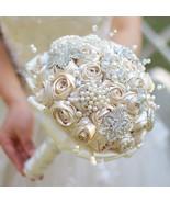 Custom Champagne Brooch Bouquet Bridal bride Silk roses Crystal Pearls B... - $158.00