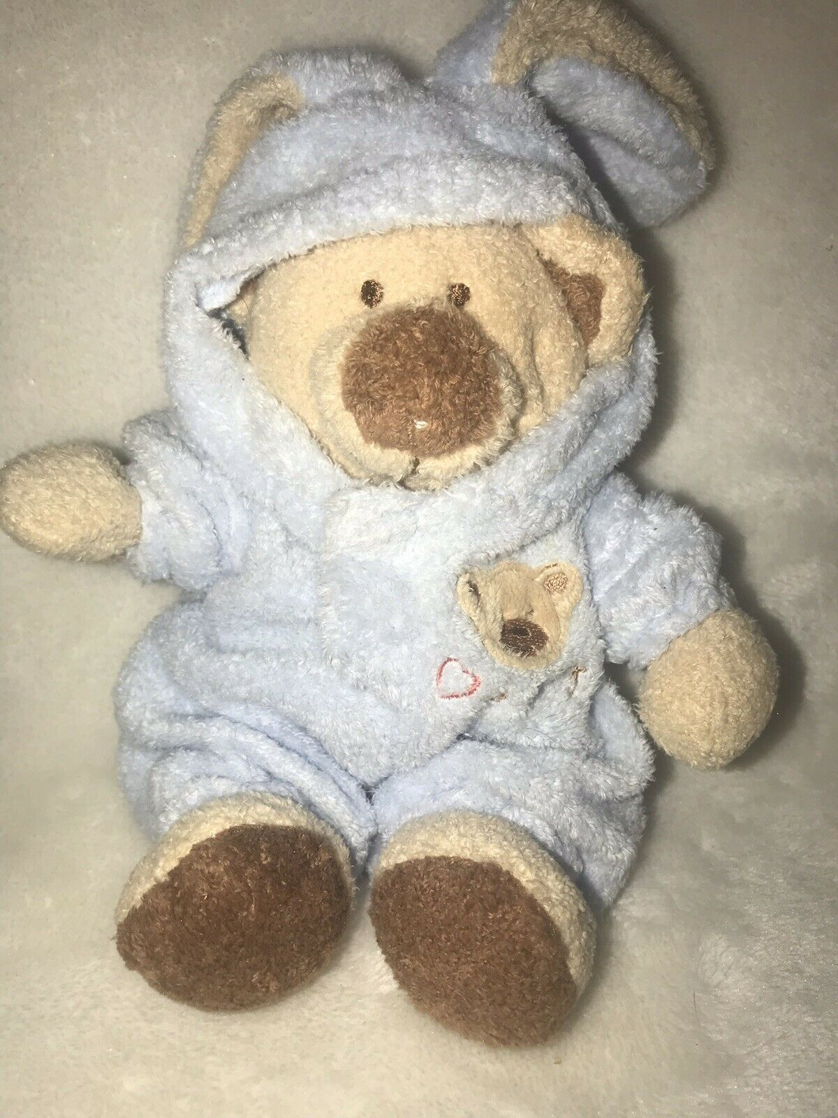 """Baby Ty Pluffies PJ Blue Bear Bunny Removable Pajamas Plush Love To Baby 7"""" 2005"""