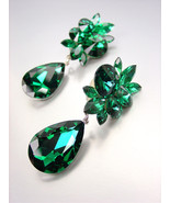 STUNNING Emerald Green Czech Crystals CLIP Dangle Earrings Prom Pageant ... - $39.99
