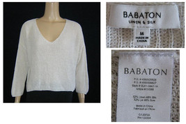 Babaton White Linen & Silk Relaxed Boxy Fit Knit V-Neck Sweater M - $82.00